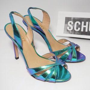 Schutz High Heels Sandals Mirror Green Blue